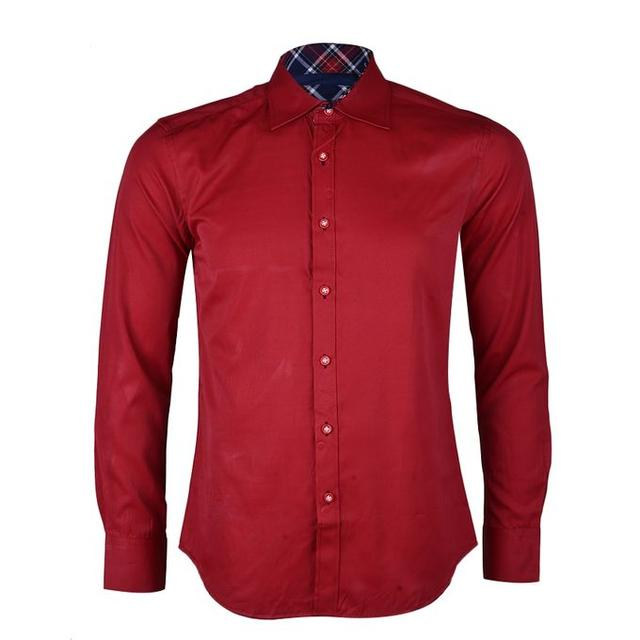 Dark Red Men Plain Shirt - Red