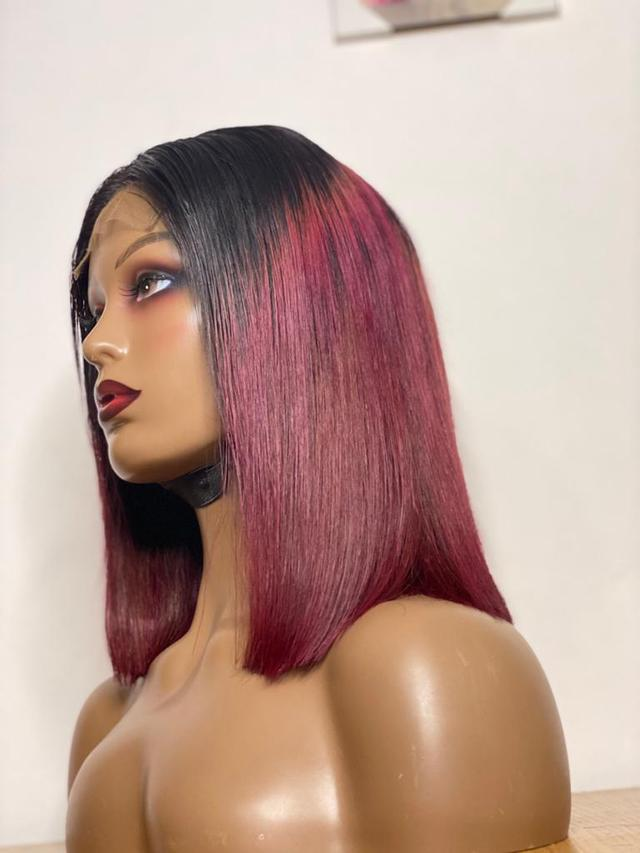 Wine Bob Wig With Closure