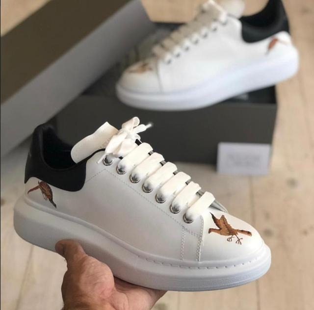 Alexander Mcqueen unisex Sneaker White Smooth Calf Leather Lace-Up Sneaker
