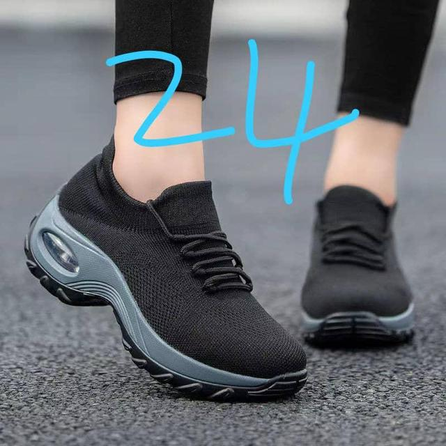 Women sock all black sneakers lace up