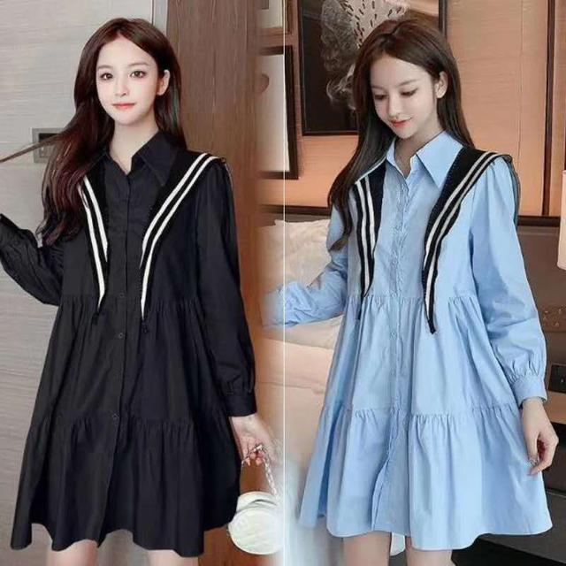 Fashionable Long bell women Dress Blue and black color