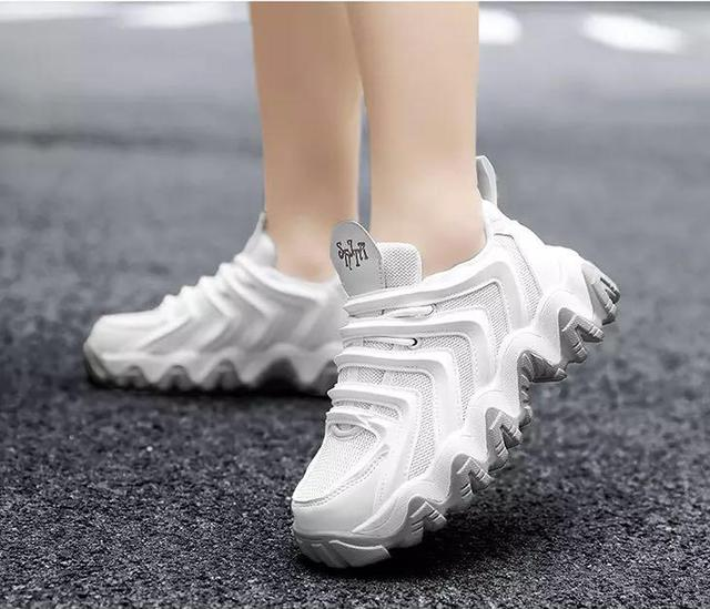 All white fashion sneakers