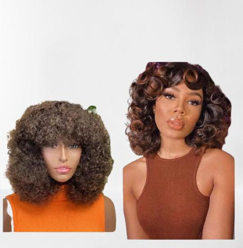 2 curly short wigs blend for 20k