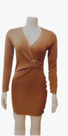 DEEP V NECK BROWN BODYCON DRESS