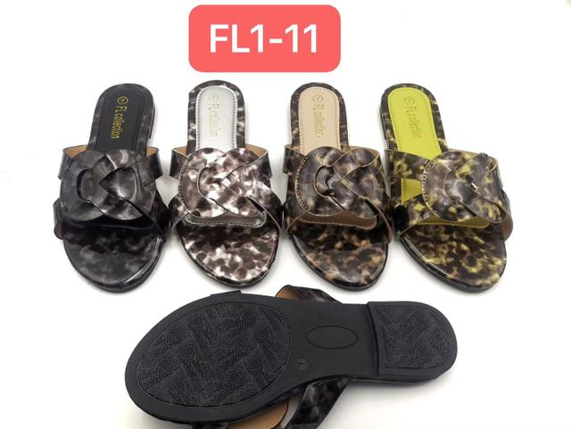 Women classic flat slippers- BROWN AND YELLOW